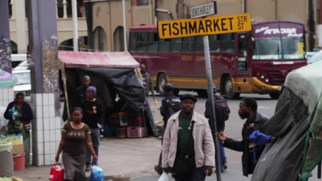 pedestrians and traffic near fishmarket street in durban - kwazulu natal stock videos & royalty-free footage
