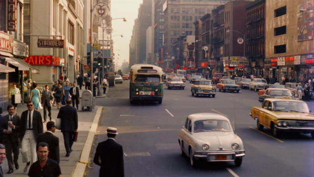 1958 WS Pedestrians and traffic, New York City, New York, USA
