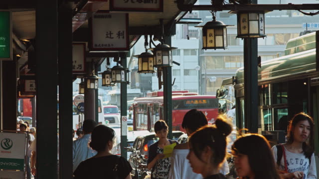 Pedestrians and Traffic on Busy Japanese Street