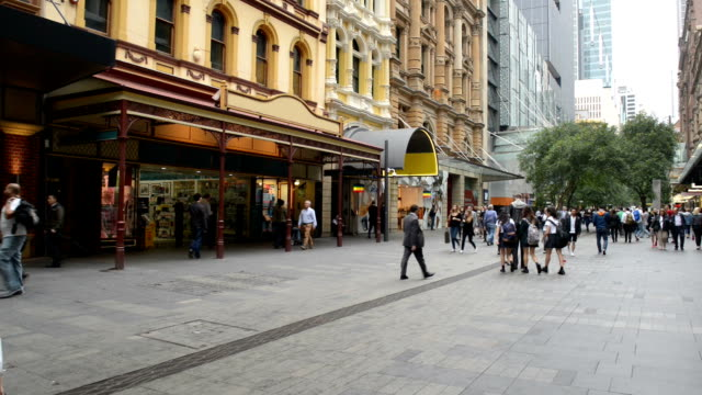 pedestrians at pitt street mall, sydney, australia - shopping centre stock videos & royalty-free footage