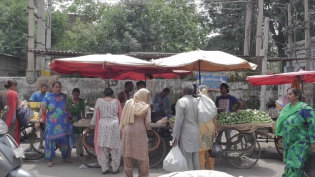 pedestrians browse for fresh vegetables or fruit among street vendors in punjab india people on motorbikes also cross the frame - punjab india stock videos and b-roll footage