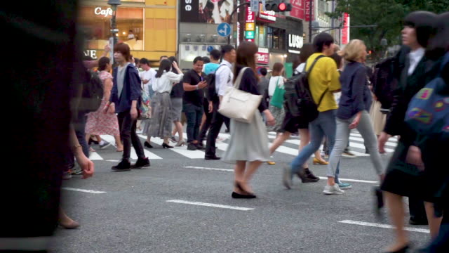pedestrians cross at shibuya crossing in tokyo , japan - road junction stock videos & royalty-free footage