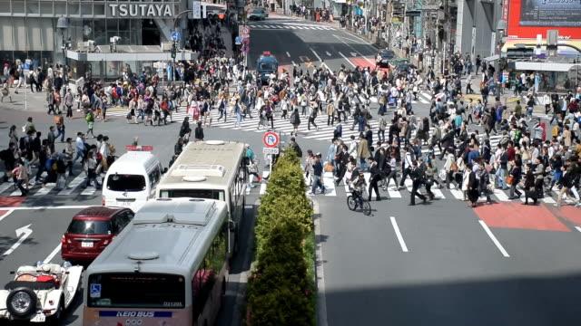 Pedestrians cross at Shibuya Crossing, Tokyo, Japan