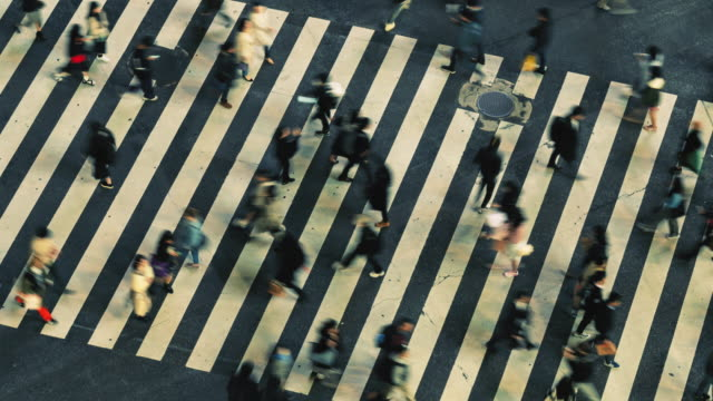 pedestrians crossing ginza intersection at night, time lapse 4k panning to right - crossroad stock videos & royalty-free footage