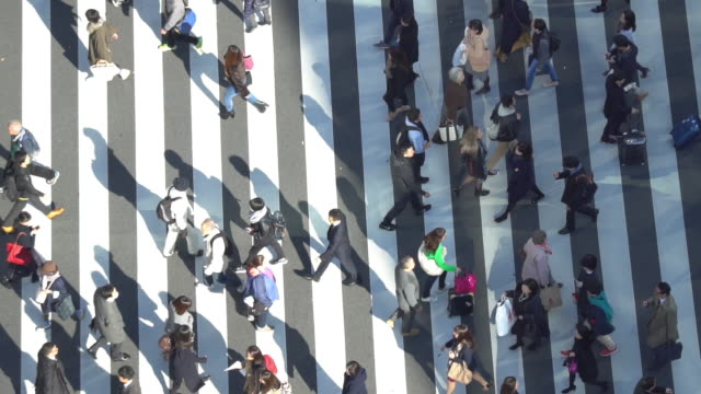 pedestrians crossing ginza intersection - slow motion - high angle view stock videos & royalty-free footage