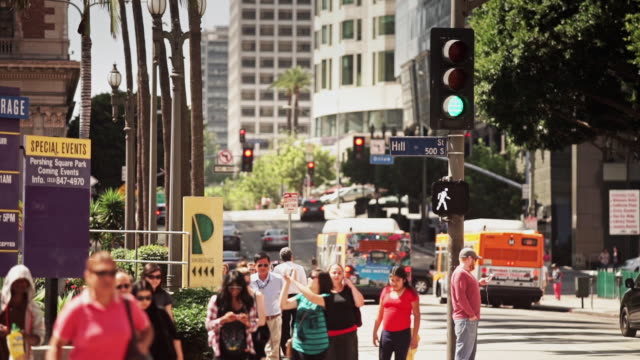 pedestrians crossing pershing square - 2015 stock videos & royalty-free footage