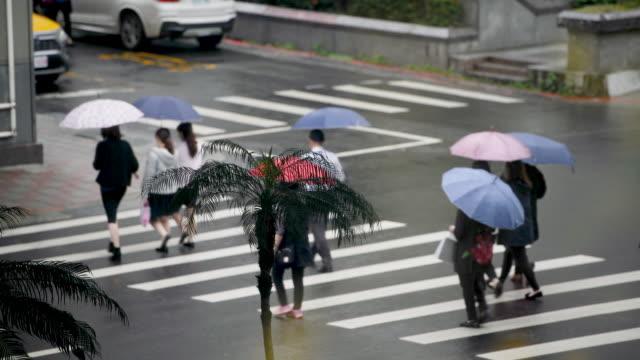 pedestrians crossing rainy streets of taipei - taiwan stock videos & royalty-free footage