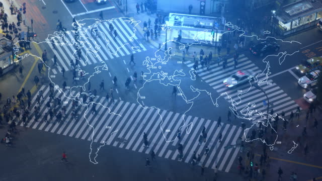 pedestrians crossing street at shibuya intersection aerial view - internet of things stock videos & royalty-free footage