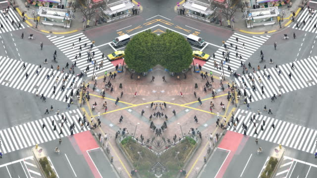 Pedestrians crossing street at Shibuya intersection Aerial View