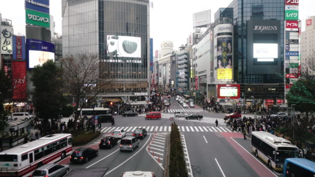 Pedestrians crossing street at Shibuya intersection