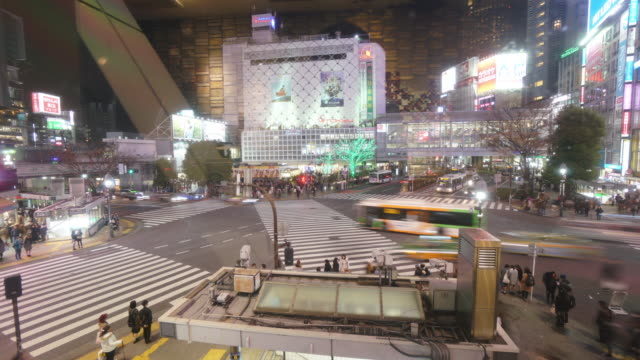 Pedestrians crossing street at Shibuya intersection