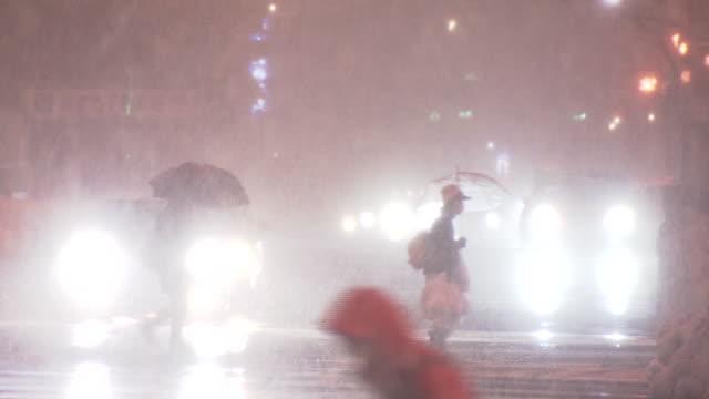 pedestrians crossing street in heavy snow, fukui japan - umbrella stock videos & royalty-free footage