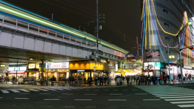 T/L WS ZO: Pedestrians crowded crossing at Ameyoko Shopping Street in Tokyo , Japan.