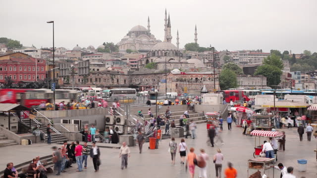 t/l ws ha pedestrians in eminonu district, suleymaniye mosque in background / istanbul, turkey - suleymaniye mosque stock videos and b-roll footage