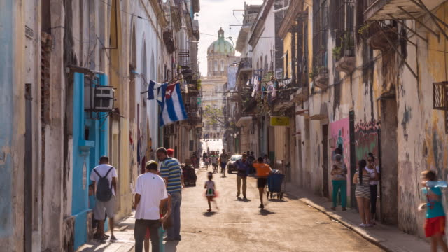 tl pedestrians in old havana street - havana stock videos & royalty-free footage