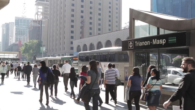 pedestrians near the subway trianon masp - urban road stock videos & royalty-free footage