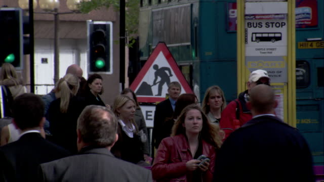 Pedestrians on a busy street in Liverpool. Available in HD.