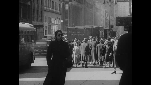pedestrians on a windy day in new york city - 1958 stock videos & royalty-free footage