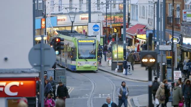 ws pedestrians on croydon high street in croydon / london, england, united kingdom - croydon england stock videos & royalty-free footage