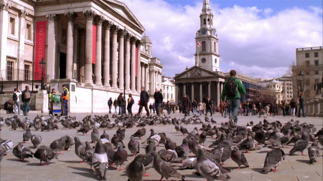 MS, Pedestrians passing National Gallery building, Trafalgar Square, London England