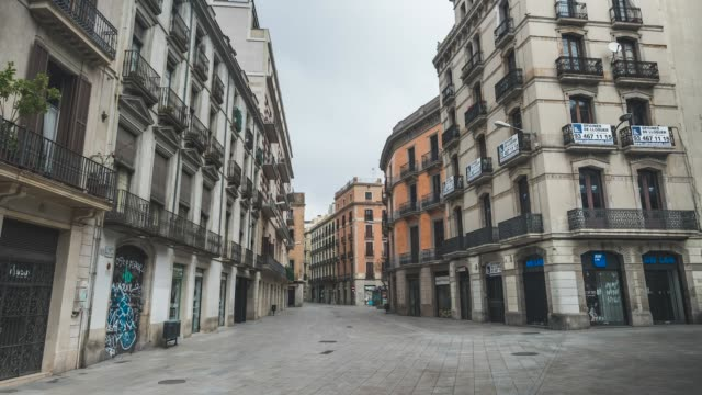 pedestrians walk at portal de l'angel boulevard during the coronavirus pandemic on april 18 2020 in barcelona spain nonessential workers were ordered... - boulevard stock videos & royalty-free footage