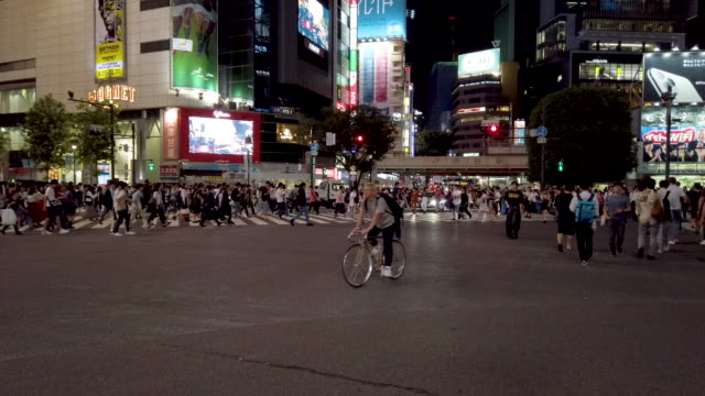 4k pedestrians walk at shibuya crossing in tokyo , japan - walking point of view stock videos & royalty-free footage