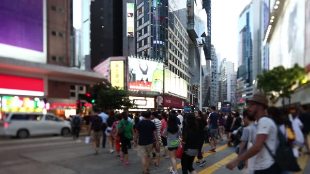 Pedestrians walk through the Causeway Bay district in this video taken with a tilt shift lens in Hong Kong China on Saturday July 23 2016