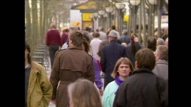 pedestrians walking along a city street in frankfurt; 1990 - general view stock videos & royalty-free footage