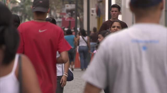 ms pan pedestrians walking through plaza bolivar / metropolitan district of caracas, miranda, venezuela - caracas stock videos & royalty-free footage