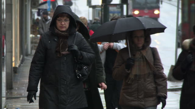 Pedestrians wear hooded coats or carry an umbrella as they walk in the rain.