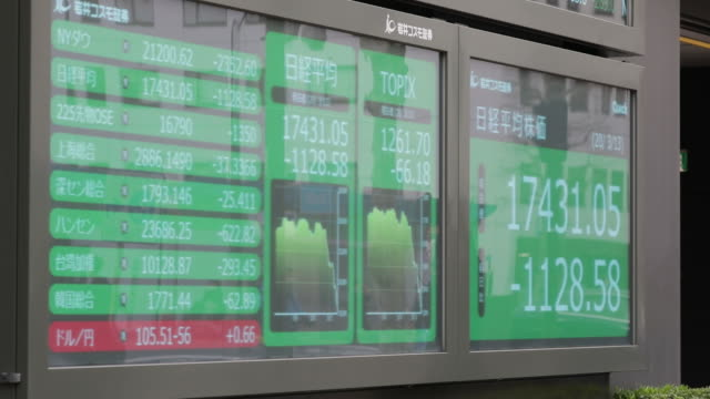 pedestrians wearing protective masks walk past electronic stock board outside securities firm tokyo japan on friday march 13 2020 - japan bloomberg stock videos & royalty-free footage