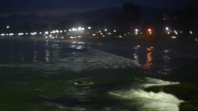 WS R/F Pedra do arpoador view ipanema and leblon beaches at night / Rio de Janeiro, Brazil