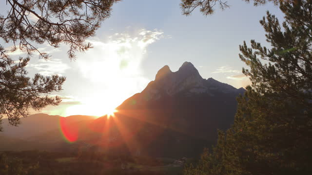 pedraforca sunset - november in catalonian mountains - coniferous stock videos & royalty-free footage