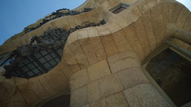 pedrera casa mila steadicam shot. famous building at barcelona, catalonia, spain - boulevard stock videos & royalty-free footage