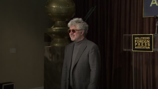 pedro almodovar at the hollywood foreign press association's cecil b demille award recipient announcement at beverly hills ca - cecil b. demille stock videos & royalty-free footage