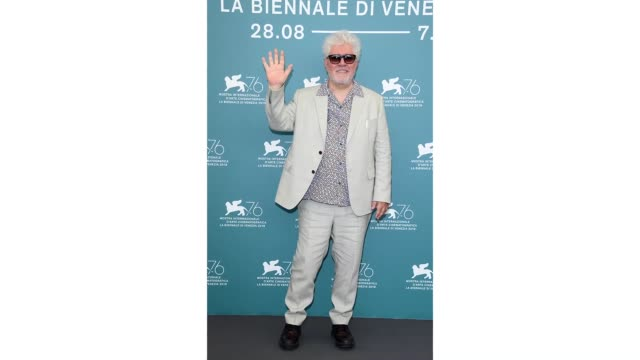 Pedro Almodóvar attends a photocall as he receives the Golden Lion award for Lifetime Achievement during the 76th Venice Film Festival at Sala Grande...