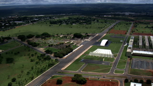 teatro pedro calmon  - aerial view - federal district, brasília, brazil - brasilia stock videos and b-roll footage