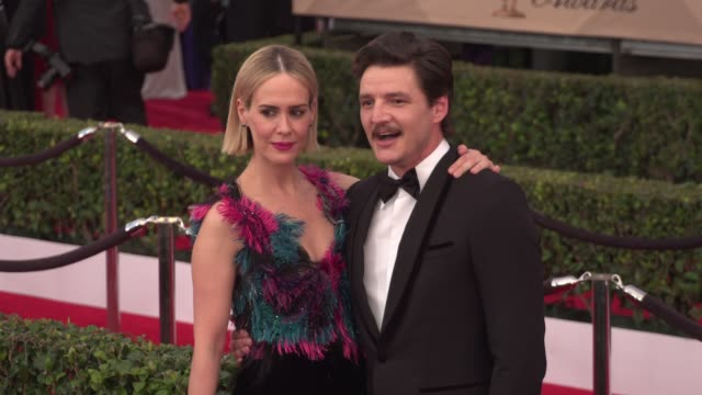 pedro pascal and sarah paulson at the 22nd annual screen actors guild awards arrivals at the shrine auditorium on january 30 2016 in los angeles... - sarah paulson stock videos and b-roll footage