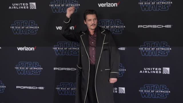 pedro pascal at the premiere of disney's star wars the rise of skywalker - pedro pascal stock videos & royalty-free footage