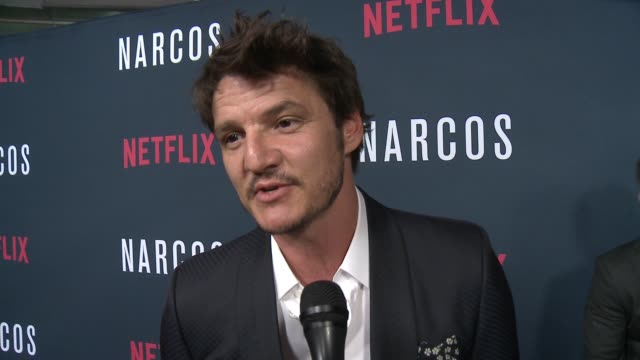 """interview pedro pascal on the event at a netflix original series """"narcos"""" season two premiere in los angeles ca - pedro pascal stock videos & royalty-free footage"""
