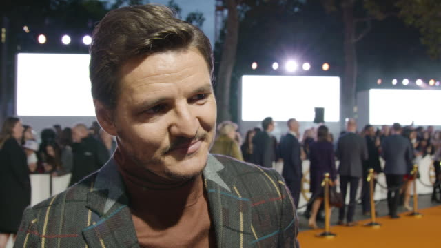 interview pedro pascal talking about the excitement of the carpet at 'kingsman the golden circle' uk film premiere at odeon leicester square on... - pedro pascal stock videos & royalty-free footage