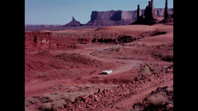 pedro rodriguez drives the 1967 pontiac firebird sprint in monument valley - 1967 stock videos and b-roll footage