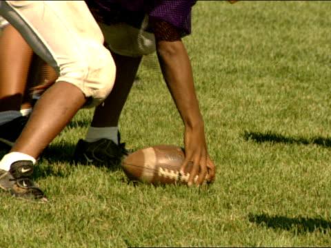 pee wee football children wearing purple uniforms running practice play on grass field in park - jugendmannschaft stock-videos und b-roll-filmmaterial