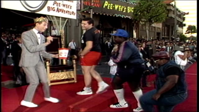 pee wee's big adventure premiere pee wee herman introducing his favorite rap group the fat boys and they beatbox a little for him in los angeles... - paul reubens actor stock videos and b-roll footage