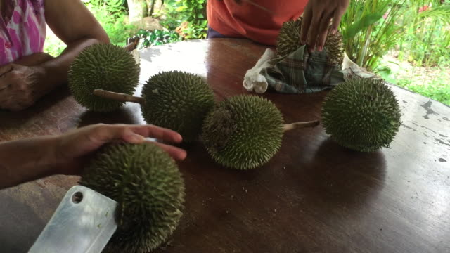 Peel durian fruit