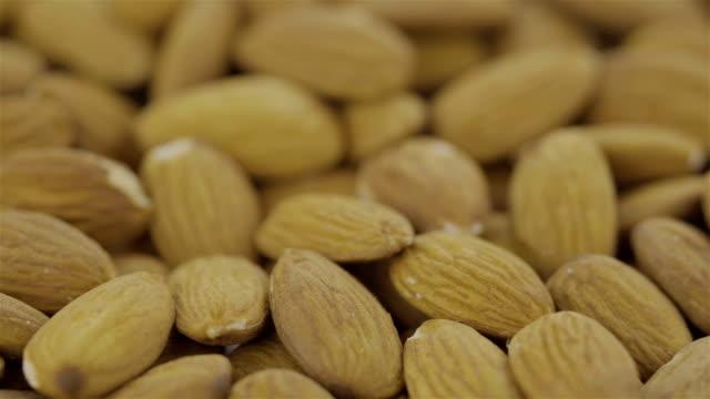 vídeos de stock e filmes b-roll de peeled almond - loopable 4k video - lichia