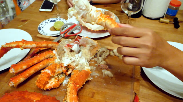 peeling and cutting a crab - prawn stock videos & royalty-free footage