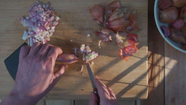 peeling and cutting shallots - plant bulb stock videos & royalty-free footage