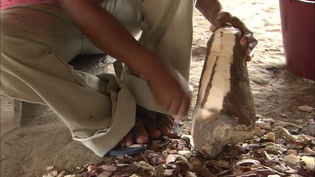 Peeling Cassava (Yucca) In The Village Of Santa Marta, Colombia