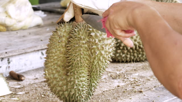 Peeling Durian With Knife